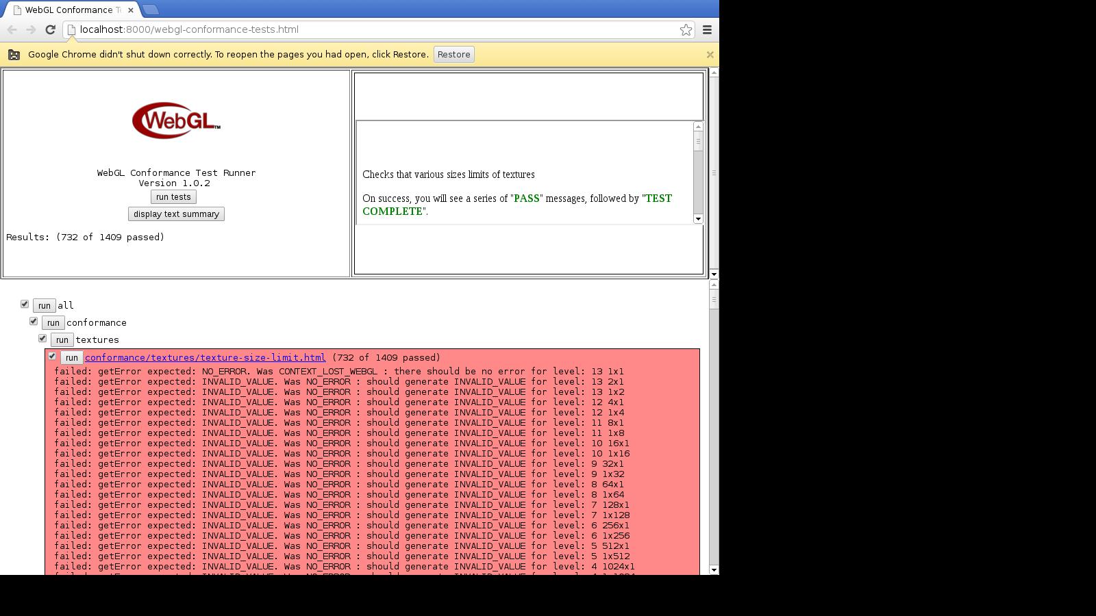 78770 – [SNB bisected]Webglc conformance/textures/texture-size-limit