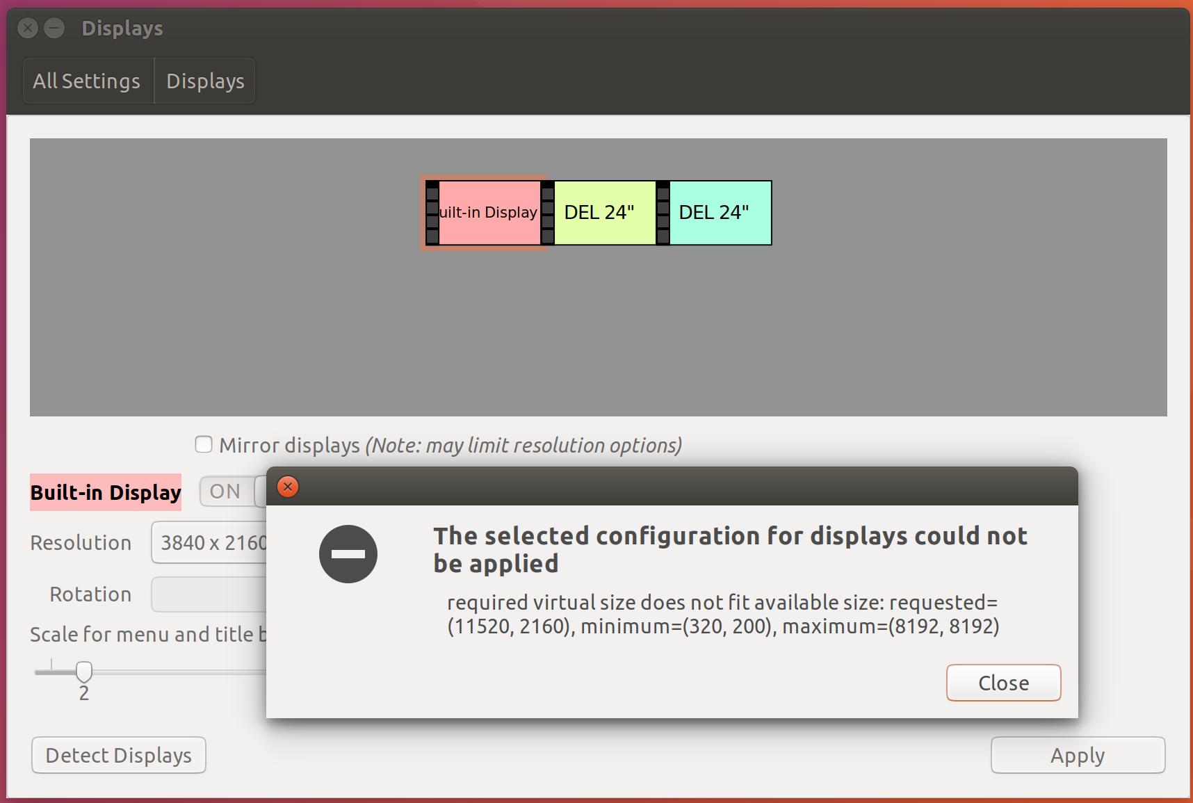 102508 – Can't configure a desktop with 3x4k monitors in one